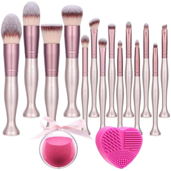 Picture of Standing makeup brush set 14 Pcs with makeup sponge and cleaner